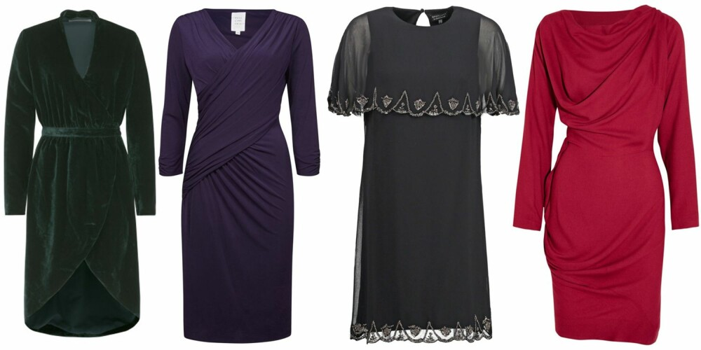 FORMFULL (f.v.): Holzweiler Items Malawi, kr 3499. Vivikes Sadie Dress, kr 699. Warehouse Cocktailkjole, kr 999. Vivienne Westwood Anglomania Draped Crepe Dress/Net-a-porter, kr 4418.