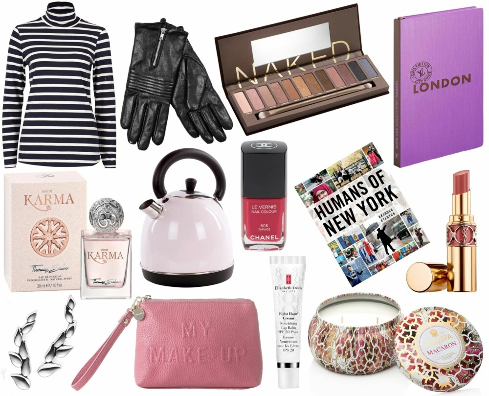 JULEGAVETIPS UNDER 500 KRONER (f.v.): Vivikes Aria Polo, kr 299. Kappahl skinnhansker, kr 299. Urban Decay Naked 1 Palette, kr 395. Louis Vuitton London City Guide, kr 327. Thomas Sabo Eau de Karma, 30ml, kr 319. Nille ELM290 Vannkoker, kr 299. Chanel Le Vernis Nail Colour, kr 225. Humans of New York, kr 250. YSL Rouge Volupté Shine, Nude in private, kr 305. Gulldia øredobber 250102 kr 395. Lulus sminkepung, kr 399. Elizabeth Arden Eight Hour Nourishing Lip Balm SPF 20, kr 210. Voluspa Macaron 2-wick Maison Metallo Candle, kr 248.