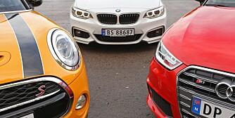 3 små kjappe Mini Cooper S, Audi S1, BMW 220i 2014