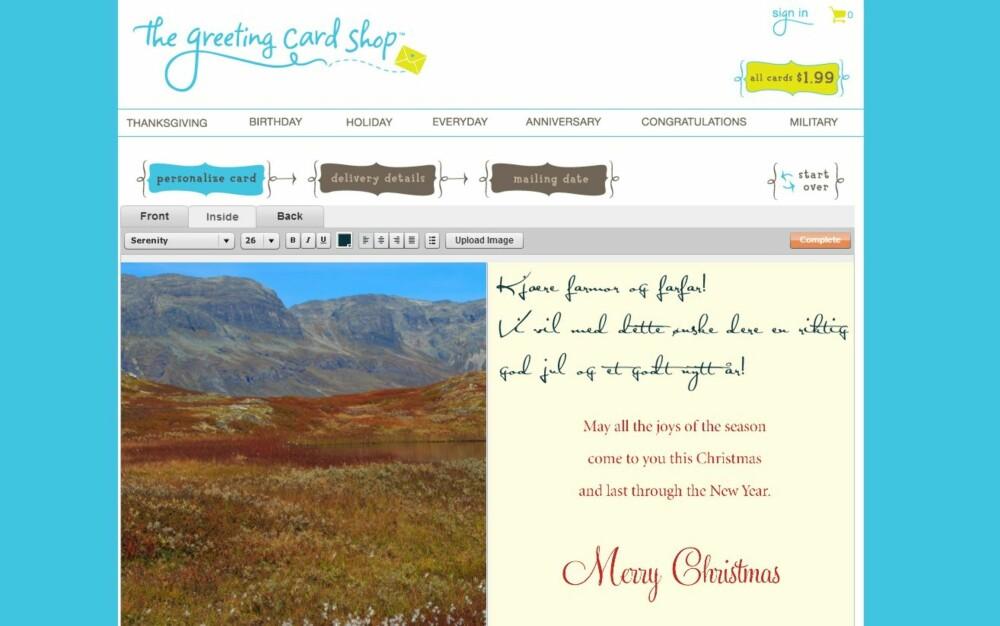 JULEKORT: Du kan også bestille julekort fra utenlandske nettbutikker og få disse sendt rett hjem i mottagerens postkasse.