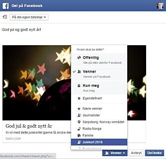 """JULEKORT PÅ FACBOOK: Lag deg en """"julekortliste"""" på Facebook. Da sikrer du deg at bare de du ønsker skal se kortet faktisk ser det."""