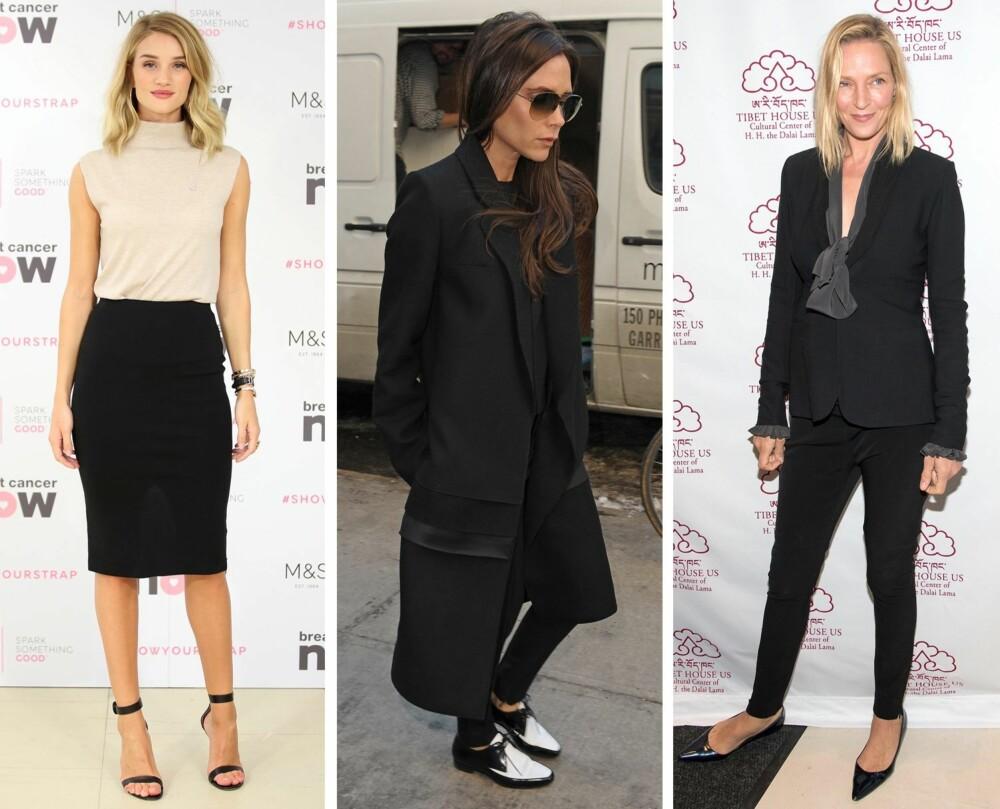 KLÆR TIL JOBB: Hent inspirasjon fra disse tre stilfulle damene til jobbantrekket (f.v.): Rosie Huntington-Whiteley, Victoria Beckham og Uma Thurman.