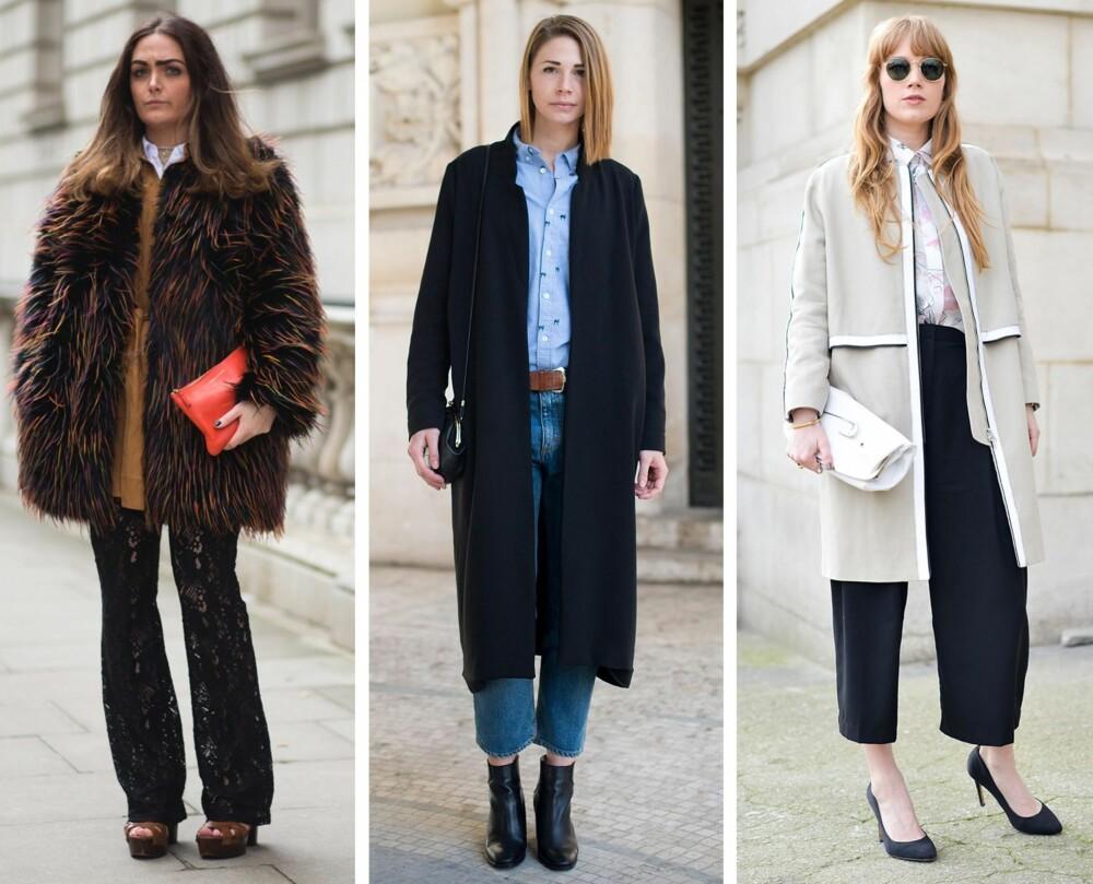 SER EKSKLUSIVT UT: Til venstre er Danielle Bailey under moteuken i London i vinter kledd i topp til tå fra H&M, mens tilbehøret er fra Comme des Garcons og Kurt Geiger. I midten er Filippa Bonde under moteuken i Paris i fjor vinter i Gina Tricot jakke, H&M skjorte og sko fra Zara, mens jeansene er fra Acne. Til høyre er moteblogger og modell Fiona Jane under moteuken i Paris i fjor vår kledd i H&M bukser og Zara sko, mens kåpen er fra Filippa K og skjorten og vesken fra Back.