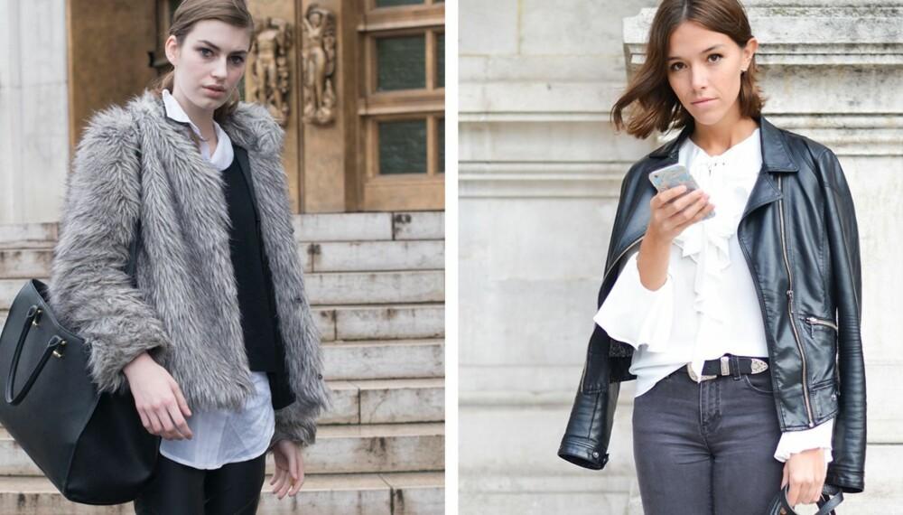 BUDSJETTVENNLIGE KLÆR: Det skal ikke så mye til å få budsjettvennlige plagg og tilbehør til å se mer eksklusive ut enn de er, noe disse to damene er et bevis på. Til venstre er modell Simcha Kirchner kledd i Primark bukser, Zara skjorte og H&M genser og veske under Paris Haute Couture Fashion Week SpringSummer 2015. Til høyre er motejournalist Celia Cuervo under Paris Fashion Week SS16 kledd i Zara skjorte og jakke, mens vesken er fra Carven. Hun har også på seg sko fra Forever 21.