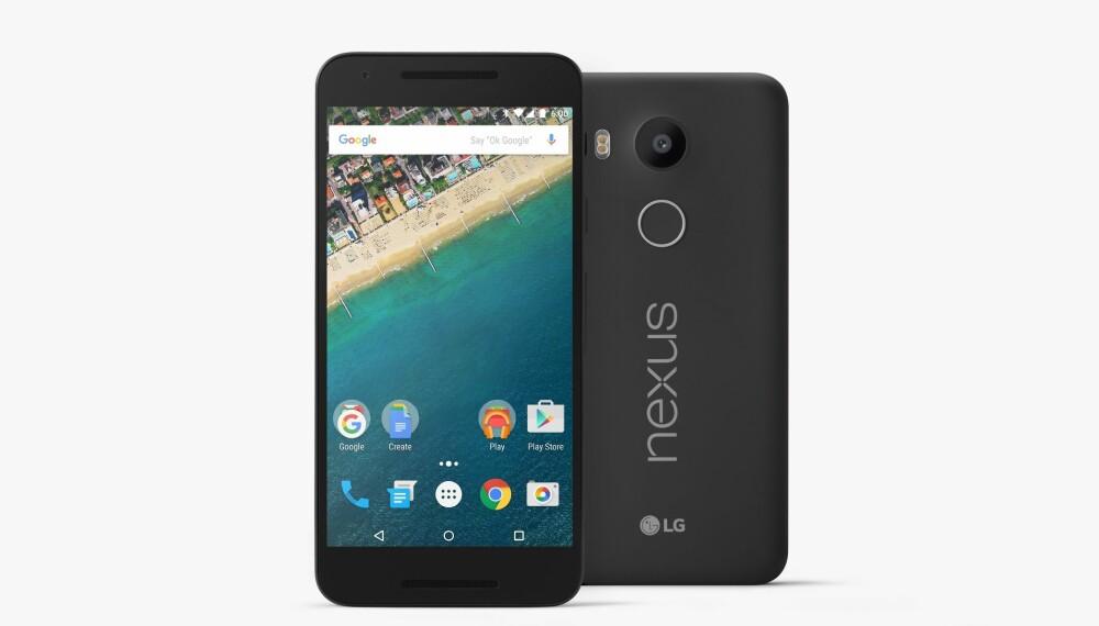 LG Nexus 5 er en av to nye Nexus-mobiler i år. Denne er litt mindre enn storebroren Huawei Nexus 6P.