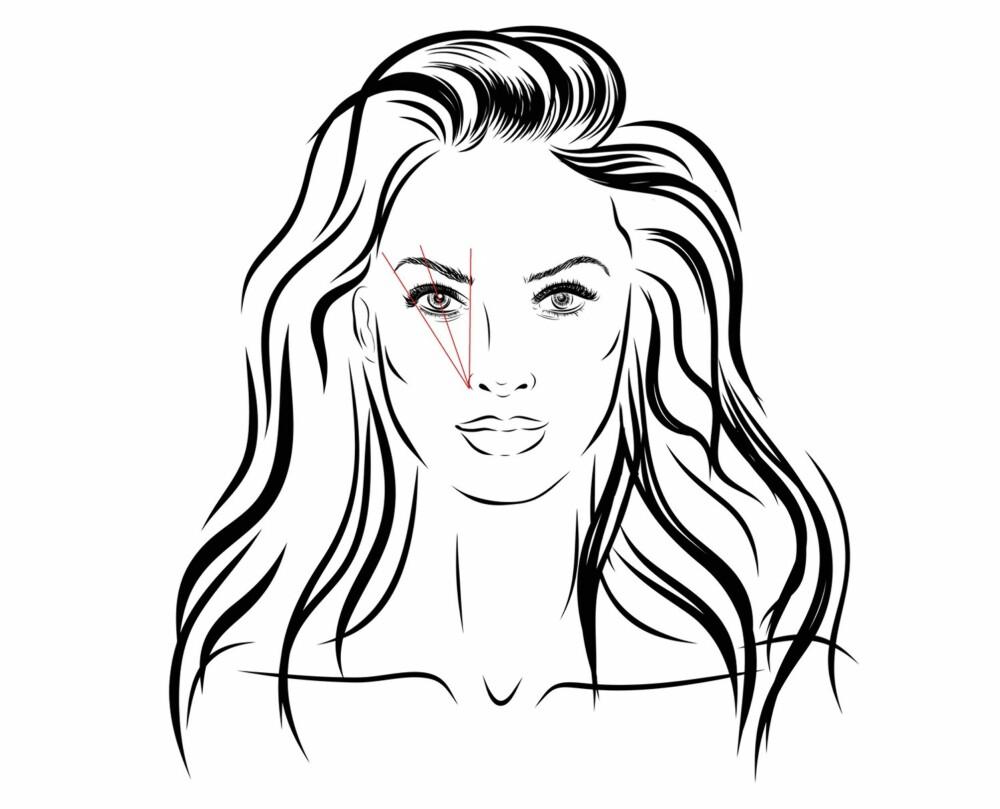 SLIK NAPPER DU: Mål fra ytterste punkt på nesevingen og vertikalt opp mot pannen med en pinne. Der pinnen stopper og inn til neseryggen, skal brynene plukkes. Mål så fra ytterste punkt på nesevingen og rett opp til pupillen. Dette for å få en pen og naturlig bue på brynet. Siste oppmåling går igjen fra nesevingen og ut til ytterst på øyet. Her skal brynet stoppe.