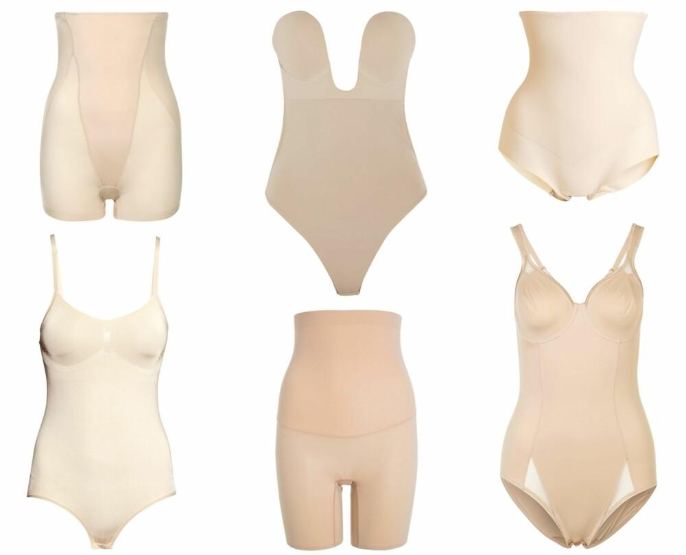 SHAPEWEAR (f.v.): Magic Bodyfashion Shapewear latte, kr 499. Fashion Forms U-Plunge self-adhesive bodysuit/net-a-porter, kr 337. Kappahl trusekorsett, kr 199. H&M Shapebody seamless, kr 199. Spanx Shape My Day Shapewear - natural, kr 699. Triumph Shape Sensation - Body - smooth skin, kr 749.