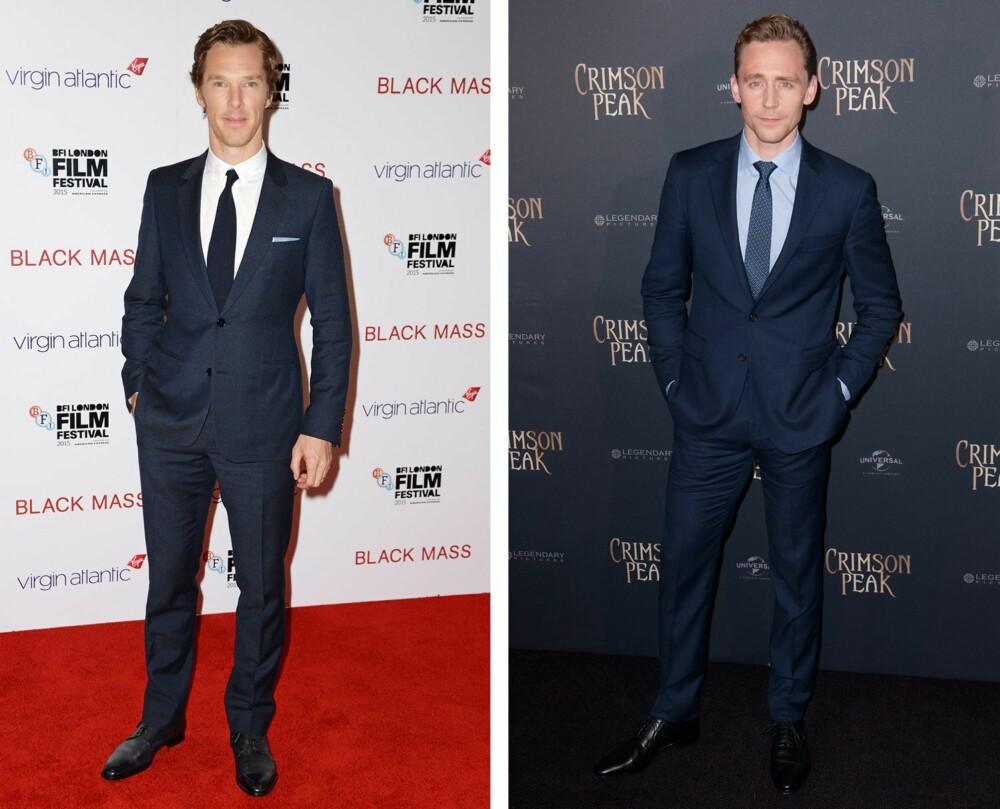 SÅNN SKAL DET GJØRES: Har du på deg dress, skal skjorta nedi – uansett! Her sett på skuespillerne Benedict Cumberbatch og Tom Hiddleston.
