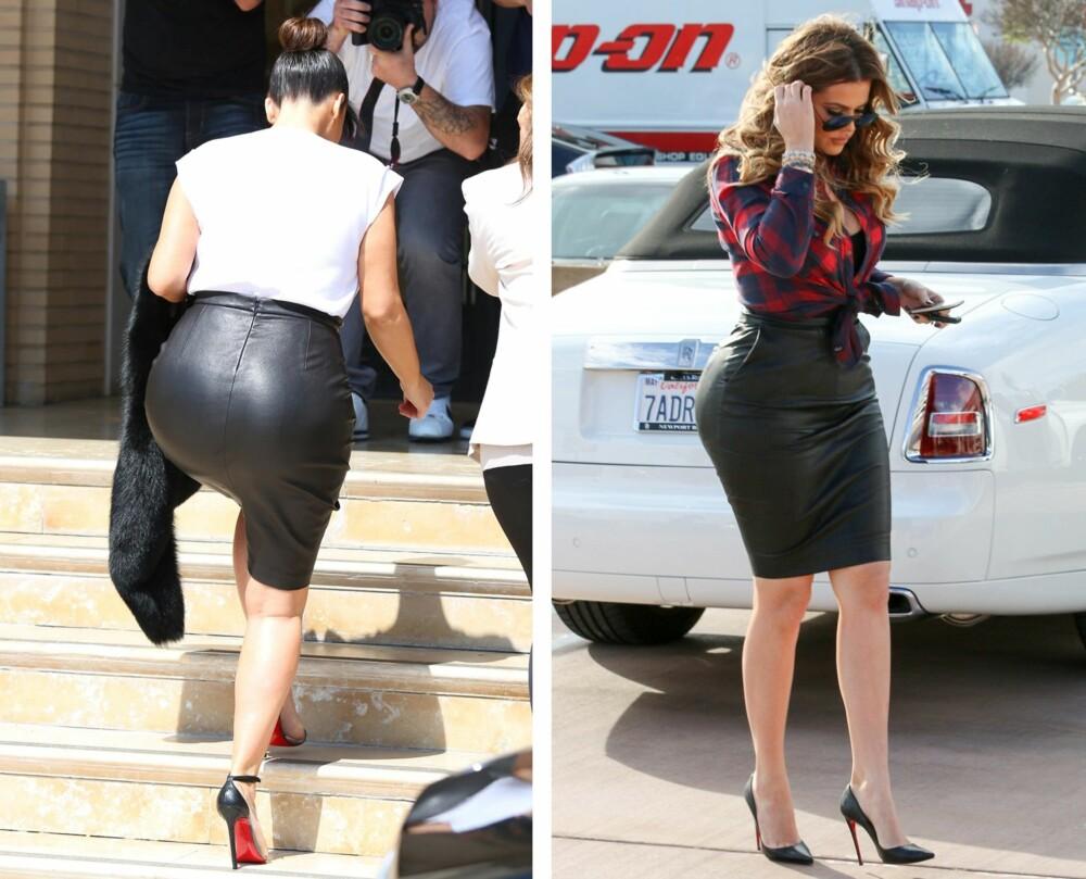 BRUK SKINNSKJØRT: - Vil du få frem rumpa ekstra godt, kan du velge et tettsittende skjørt. Et eksempel på materiale som fremhever rumpa er sort skinn, sier stylist Marielle Grøneng. Her sett på søstrene Kim og Khloe Kardashian.