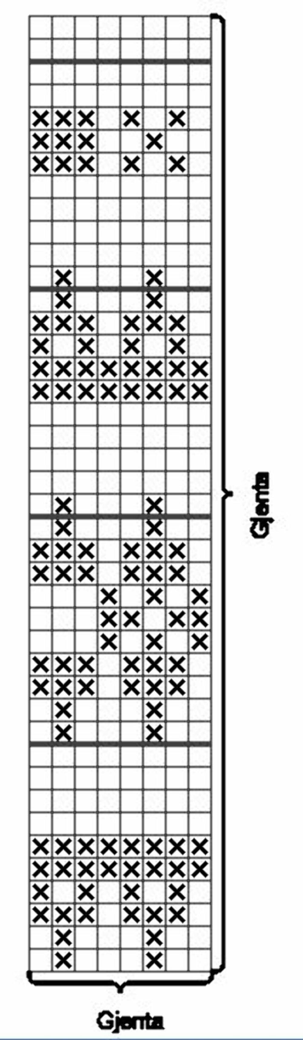 DIAGRAM: Strikk diagram som oppgitt i oppskriften.