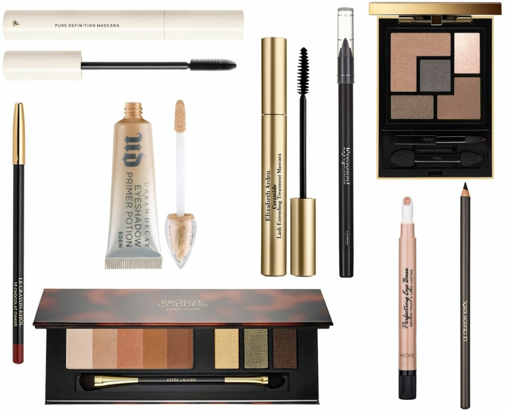 FORSLAG TIL PRODUKTER (f.v.): H&M Pure Definition Mascara, kr 99. Elizabeth Arden Ceramide Lash Extending Treatment Mascara Black, kr 265. Lindex Eye Pencil, kr 49,50. YSL Couture Palette 2 - Fauve, kr 475. Lancôme Khôl Chocolat Crayon, kr 190. Urban Decay Eyeshadow Primer Potion Eden, kr 175. Kicks Perfecting Eye Base, kr 119. Lancôme Crayon Khôl Pencil Black, kr 190. Estee Lauder Bronze Goddess Shimmering Nudes Eyeshadow Palette, kr 535.