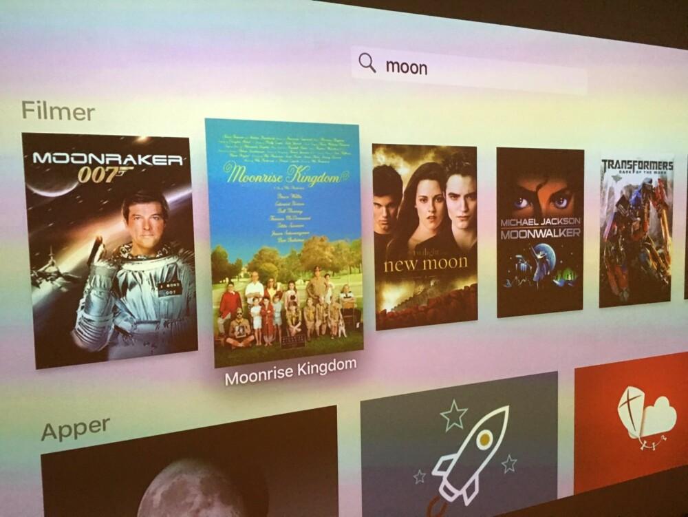SØK: Nye Apple TV har fått et universelt søk som søker apper og tjenester som støtter universelt søk. Forhåpentligvis vil dette snart også fungere med norsk stemmesøk med Siri.