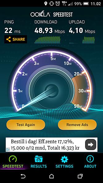 HASTIGHET: Mobilnettet støtter etterhvert svært gode hastigheter, men det er ikke sikkert du får tilgang til dem med ditt abonnement. Her har vi fått nesten 50 Mbps et sted i Oslo, men mange abonnementer struper hastigheten på 10 eller 20 Mbps.