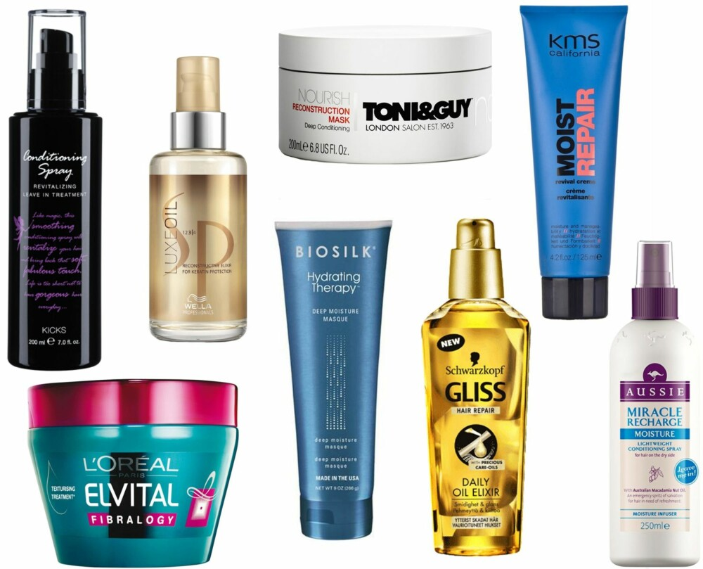 TIPS MOT TØRT HÅR (f.v.): Kicks Conditioning Spray, kr 89. SP LuxeOil 100, kr 289. Toni & Guy Reconstruction Treatment hårkur, kr 145. Kms California Moistrepair Revival Creme 125ml, kr 239.  L'oréal Elvital Fibrology Mask, kr 75. Biosilk Hydrating Therapy Deep Moisture Masque, kr 229. Schwarzkopf Gliss Ultimate Repair Oil Elixir, kr 79. Aussie Miracle Recharge Moist Conditioning Spray,kr 125.