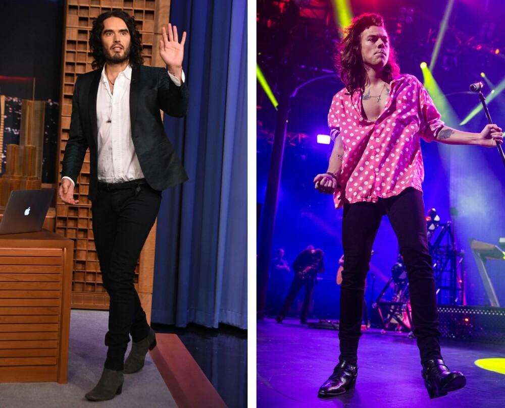 SKINNY JEANS-ELSKERE: Både Russel Brand og Harry Styles elsker de sorte, supertrange buksene. Og er det noen som kler dem, er det kanskje disse to – eller?
