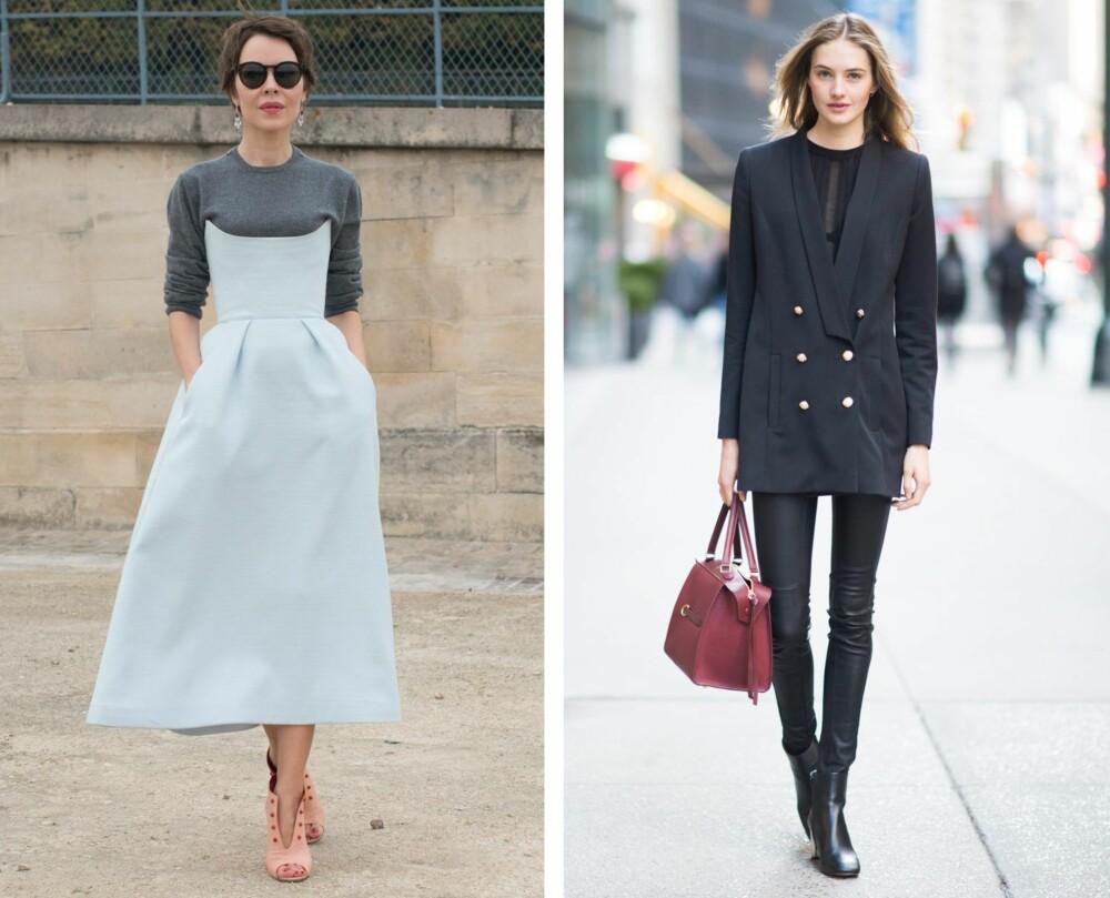LAG PÅ LAG OG LIKE FARGER: Å for eksempel bruke en genser under kjolen er kreativt og en fin måte å leke seg med teksturer på. Er du ute etter lengre ben, kan et antrekk med lignende farger fra midjen og ned være tingen. Ifølge modell Helene Hammer sverger flere modeller til dette. - Det gir en illusjon av en lang, smal silhuett, sier hun.