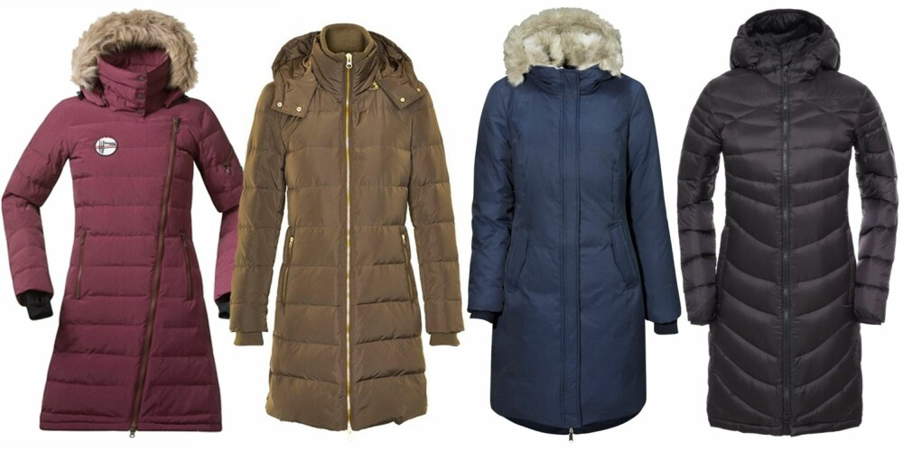 DUNKÅPER (f.v.): Bergans Bodø Down Lady Coat Navy 90% dun og 10% fjær, kr 3000. InWear Dunkåpe Wyuna 80% dun og 10% fjær, kr 2499. Ellos Collection Dunparkas 80% dun og 20% fjær, kr 1299. The North Face W Upper West Side Parka/Outnorth.no, kr 2809.