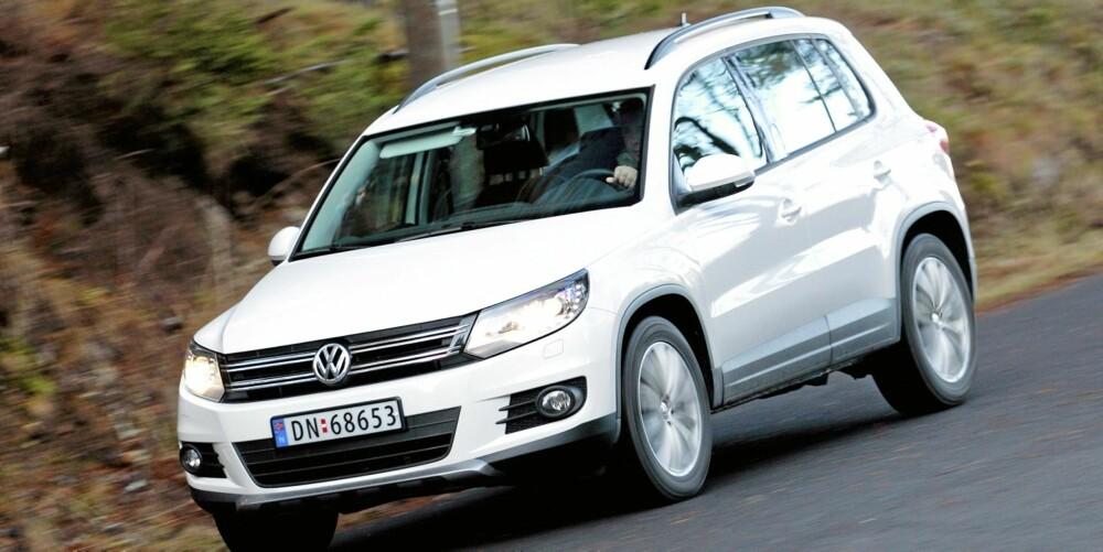 2WD: Drøye 43 prosent av storselgeren VW Tiguan selges med kun forhjulstrekk. Foto: Egil Nordlien, HM Foto