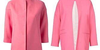 ROSA JAKKE: Den ene jakken koster 29 ganger så mye som den andre. Ser du hvilken? Her er svaret: Kåpen til venstre er fra Valentino, laget av silke og ull, og har en prislapp på 22 000 kroner. Kåpen til høyre er fra Topshop, og koster kr 750.
