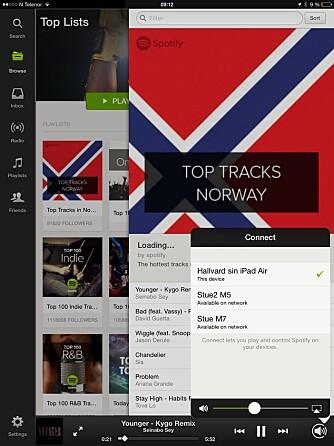 VELG HØYTTALER: Samsungs system støtter Spotify Connect, noe som gjør at du enkelt velger høyttaler fra selve Spotify-appen.