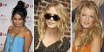 AVSLAPPET: Både Vanessa Hudgens, Mary-Kate Olsen og Blake Lively digger de avslappede hårstylingene.