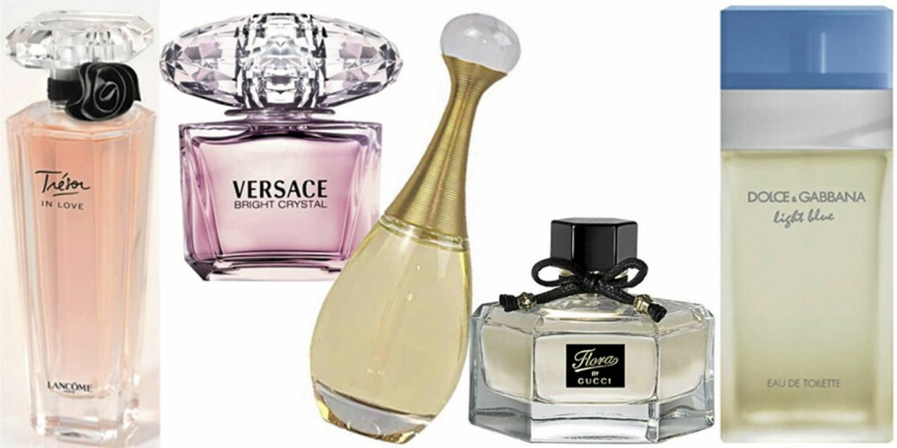 FRA VENSTRE: Lancome Trésor in Love, Versace Bright Crystal, Dior J´adore edt, Gucci Flora by Gucci, Dolce og Gabbana Light Blue.