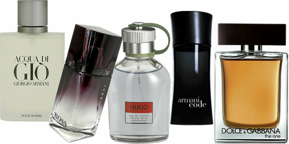 FRA VENSTRE: Armani Aqua di Gió pour home, Boss Boss Soul, Hugo Boss Hugo, Armani Code, Dolce og Gabbana The one for men.
