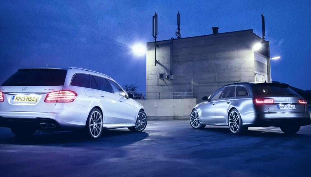 SUPERDUELL: Mercedes E63 AMG versus Audi RS6 Avant - to familiebiler med masse plass som lett kan konkurrere med hvasse superbiler hva gjelder ytelser. FOTO: Thomas Salt