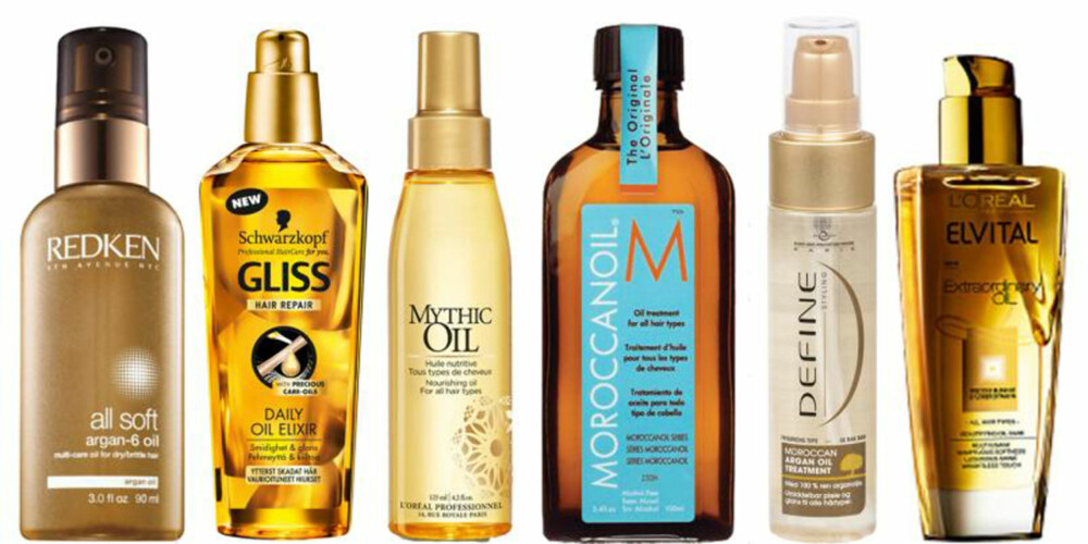 HÅROLJER, FRA VENSTRE: Redken All Soft, kr 299. Schwarzkopf Gliss Daily Oil Elixir, kr 90. L'Oréal Professionnel Mythic Oil, kr 225. Moroccan Oil Moroccan Oil Treatment, kr 299. Define Moroccan Argan Oil Treatment, kr 93. L'Oréal Elvital Extraordinary Oil, kr 99.