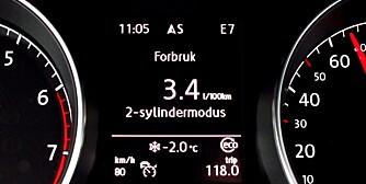 GJERRIGERE: En bensinmotor trenger ikke være en tørsting. Bilder viser tripcomputeren på VW Golf med 1,4-liters bensinmotor. FOTO: Terje Bjørnsen