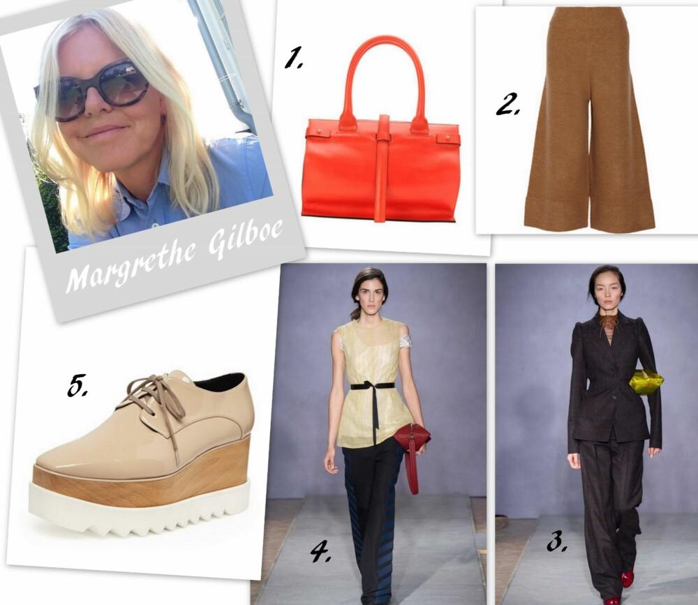 MARGRETHE GILBOE: -  Favorittplagg til høsten er et vidt skinnskjørt, gjerne i en grønn eller gultone (a la Dries Van Noten). Jeg ønsker meg også vide, lange bukser (2) og et sett med jakke og bukse a la Maison Martin Margiela i tweed  (3). Videre ønsker jeg meg Oxford plattformsko fra Stella McCartney med stjerner eller i nude (5), spisse boots (Helmut Lang) og noe rødt, enten veske eller belte. Jeg elsker kombinasjonen rødt og kamel. Heia Maison Martin Margiela (4) og Helmut Lang for høsten 2014! Love it!