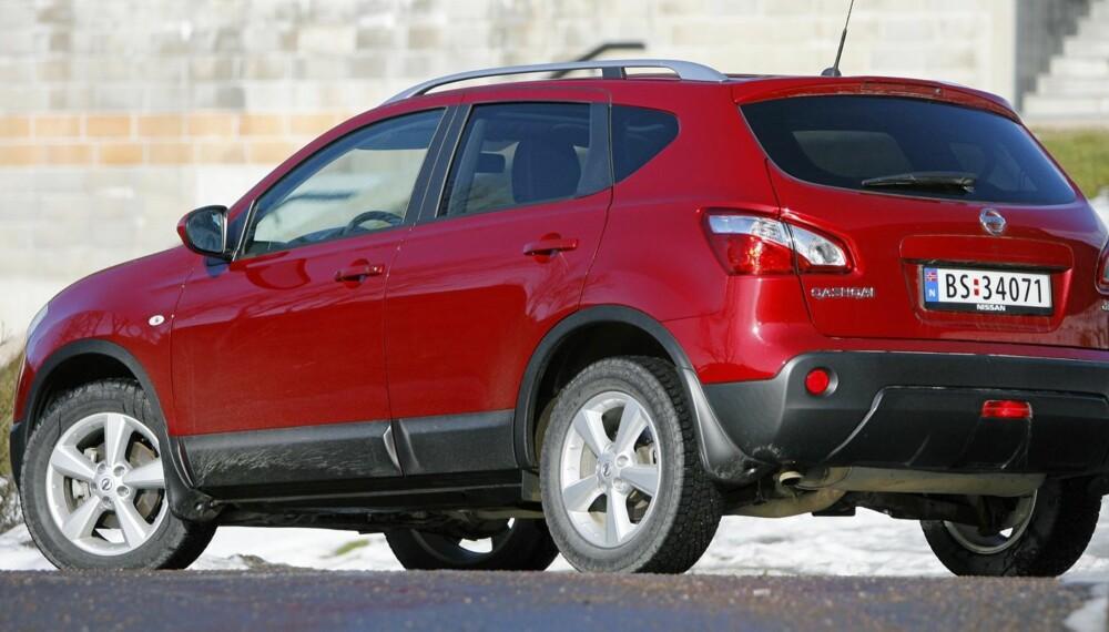 LIKSOM-SUV: Nissan Qashqai er den av de høyreiste bilene med høyest andel tohjulsdrift. Hele 75 prosent av kjøperne velger å la forhjulene ta seg av hele jobben.