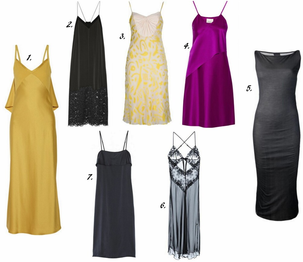 DESIGNER SLIP DRESS: 1. Ruffles Satin-Crepe Gown fra Jason Wu (¿3,115 hos Net a Porter), 2. Lace-Trimmed Satin Midi Dress fra DKNY (¿350 hos Net a Porter), 3. Slip Dress fra Basso & Brooke Vintage (¿196 hos Farfecth), 4. Stretch-satin Slip Dress fra 3.1 Philip Li (¿751 hos Net a Porter), 5. Tank Slip Dress fra Rick Owens (¿ 335,98 hos Farfetch), 6. Sheer Lace Long Slip fra Christies (¿276,78 hos Farfetch), 7. Silk-satin Slip Dress fra Theory (¿567 hos Net a Porter).
