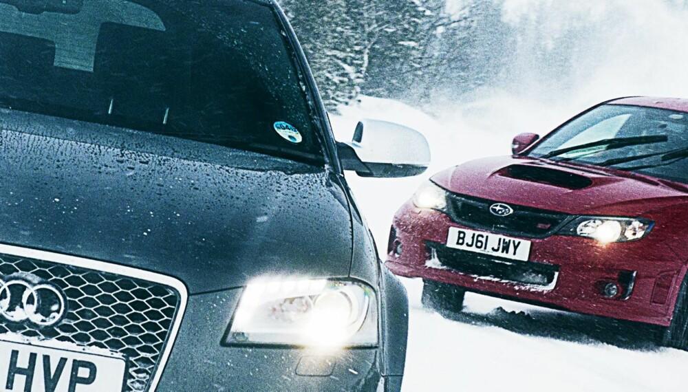 ISDUELL: Audi RS3 Sportback mot Subaru Impreza WRX STi. ALLE FOTO: Justin Leighton og Lee Brimble