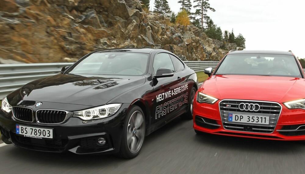 ACHTUNG, BABY: Audi S3 og BMW 435i xDrive med M Sport-pakke er begge sportslige biler med svært gode ytelser. De er imidlertid ikke på samme sted på sportslighetsskalaen. FOTO: Petter Handeland