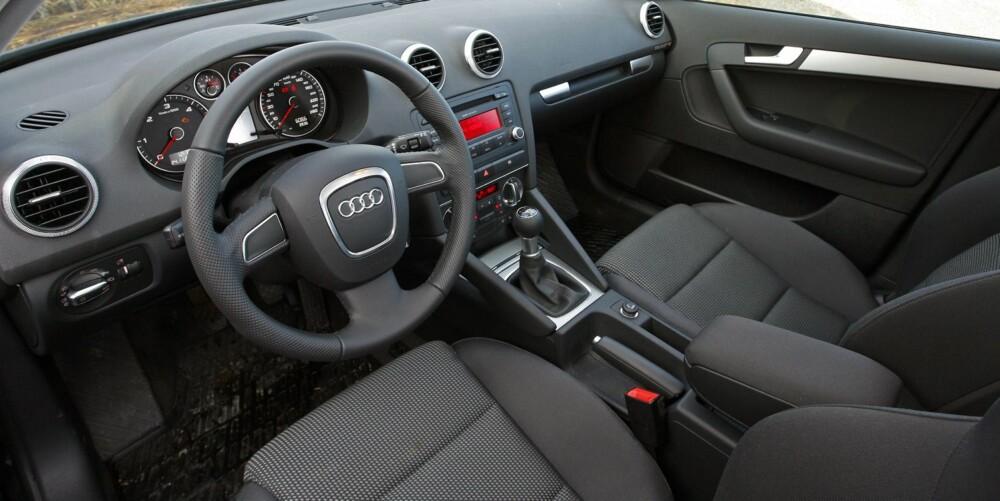 GEDIGENT: Audi er kjent for solid interiørkvalitet, og selv en brukt Audi A3 skal ikke skuffe deg på dette punktet.
