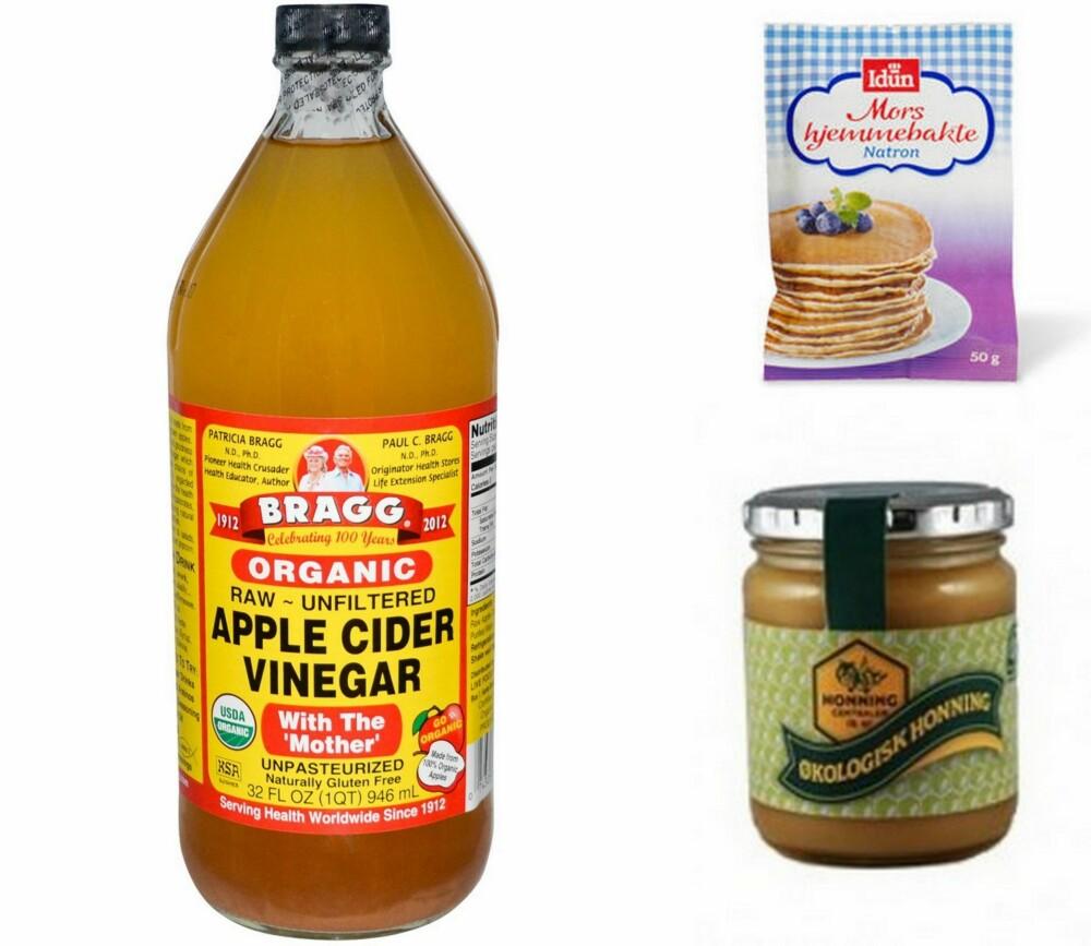 NOPOO INGREDIENSER: De vanligste rene og naturlige ingrediensene å bruke til nopoo-metoden er natron (eller bakepulver), økologisk ufiltrert eplecidereddik og økologisk honning.