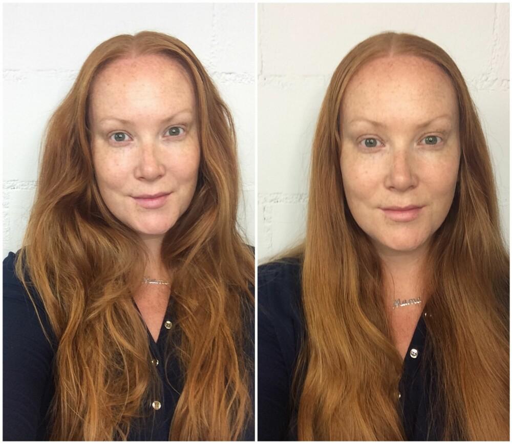 UTEN VASK: Etter syv hårvaskfrie dager var håret relativt fett, flokete og lite attraktivt. Til venstre er håret tatt rett ned fra en hårball, og til venstre er det børstet, men fortsatt ikke vasket.