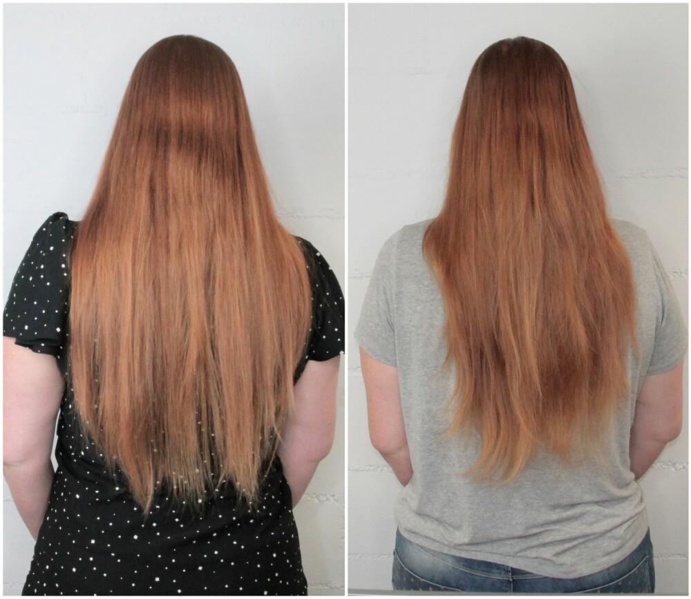 ETTER VASK: Bildet til venstre er på den syvende dagen rett etter første vask, mens bildet til høyre er på den tolvte dagen etter å ha fortsatt bare vasket håret én gang med natron og epleedikk.