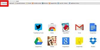 START: Bruker du Google Chrome får du enkel tilgang til Google Drive og dine dokumenter via Vis apper-knappen øverst til venstre i nettleseren Google Chrome.