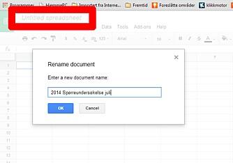 NAVN: Gi dokumentet ditt et forståelig navn, slik at du finner det igjen senere.