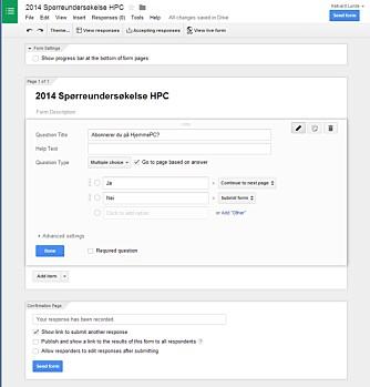 LAG SPØRSMÅL: Google Docs støtter bruk av enkle spørsmål med avkrysningsbokser, til mer avanserte matriser.