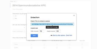 BYGG INN: Med embedd-funksjonen kan du integrere et skjema på en nettside.