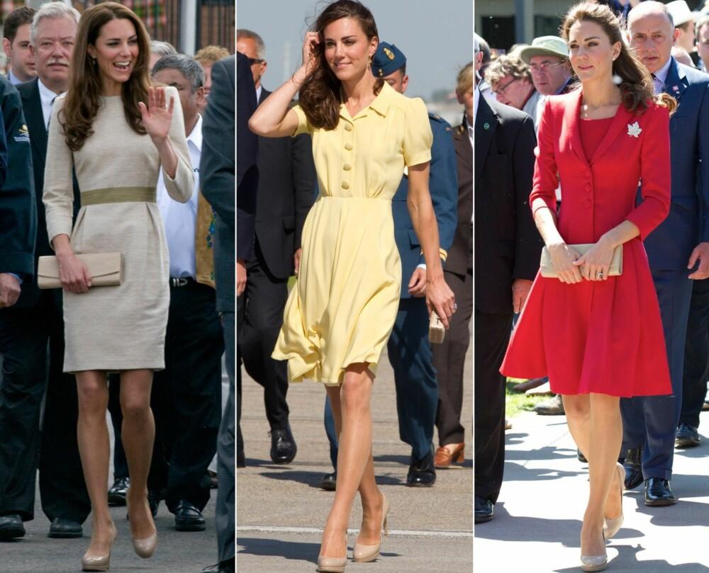 FAVORITTER: Hertuginne Kate bruker ofte de beige pumpsene sine - som gjør at bena hennes ser lengre ut.