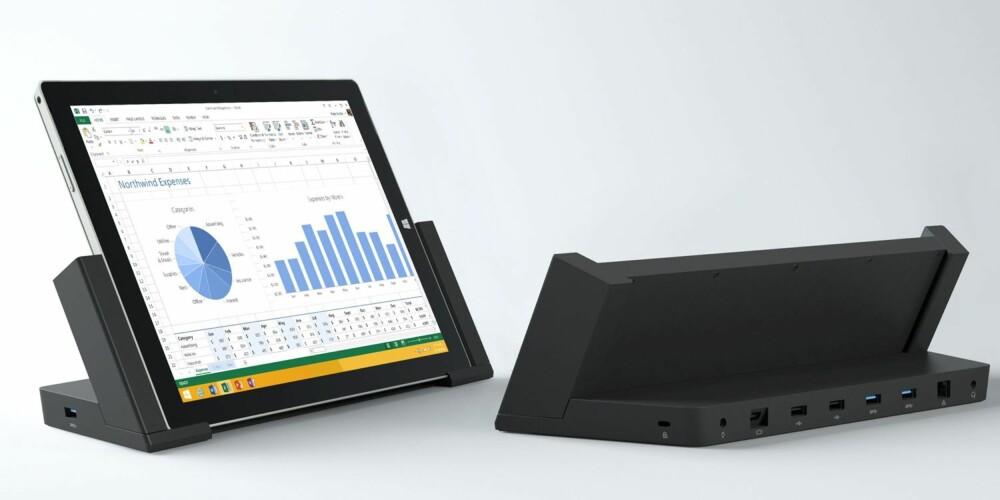 DOKKING: Skal du bruke Surface Pro 3 til lange arbeidsdager er en dokkingstasjon nesten påkrevd.