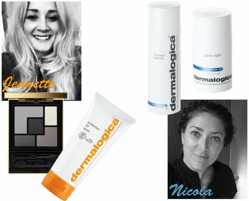 <b>JEANETTE ANBEFALER:</b> YSL Couture Palette i fargen No. 1 Tuxedo, kr 475. Dermalogica Protection 50 Sport, kr 395. <b>NICOLA ANBEFALER:</b> Dermalogica Chroma White Tri-Active Cleanse, kr 515. Dermalogica Chroma White Pure Night, kr 905.
