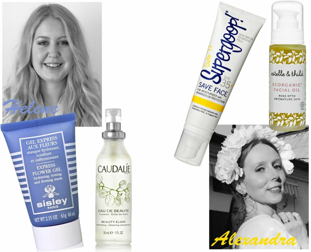 <b>HELENE ANBEFALER:</b> Sisley Express Flower Gel, kr 785. Caudalíe Beauty Elixir, kr 295. <b>ALEXANDRA ANBEFALER:</b> Supergoop Save Face SPF 35, kr 220. Estelle & Thild Rose Otto Facial Oil, kr 425.