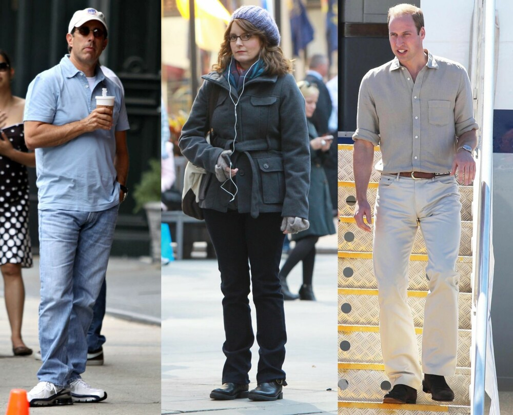 NORMCORE-INSPIRASJON: Disse tre har blitt trukket frem som eksempler på anti-trenden. Fra venstre: Jerry Seinfeld, Tina Fey sin karakter Liz Lemon i serien 30 Rock og selveste Prins William.
