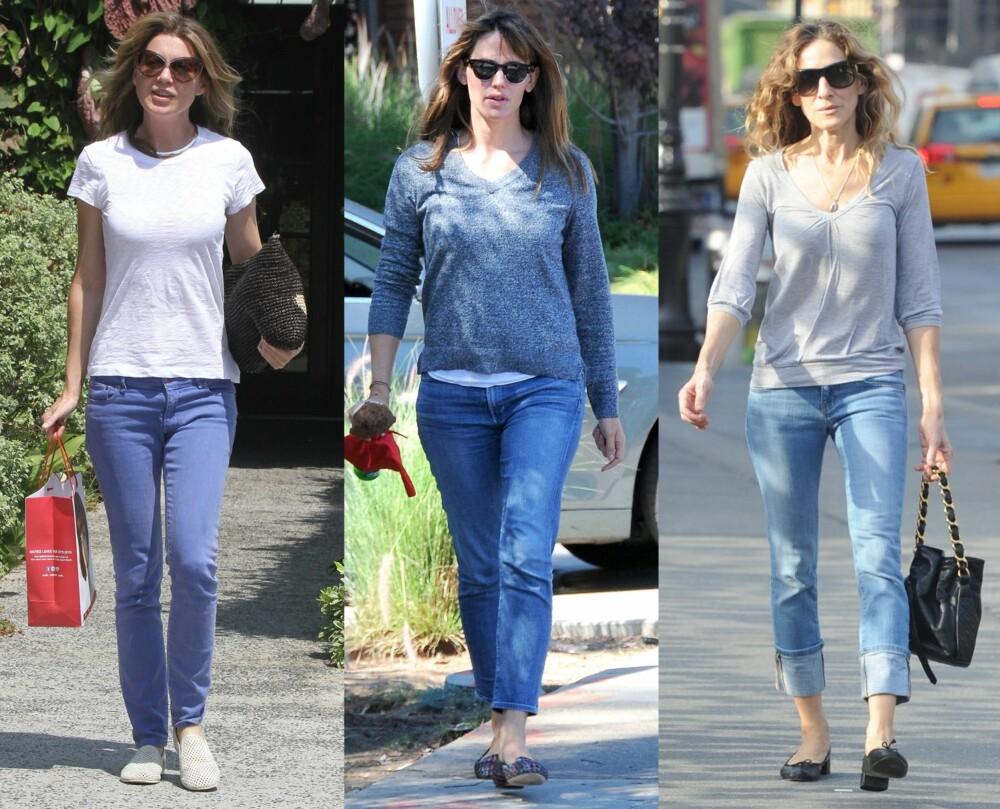 DET ENKLE ER OFTE DET BESTE: Det ser ut som også Hollywood-kjendisene har blitt smålei av de stadig nye trendene. Fra venstre: Ellen Pompeo, Jennifer Garner og Sarah Jessica Parker.