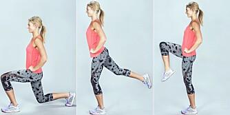 LØFT BAK OG FORAN: Ta et godt steg fram med venstre ben og gå ned i utfall.